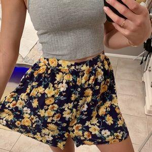 Flower button-down skirt